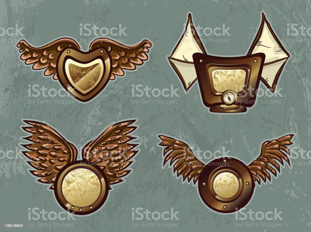 Steampunk Shield icon set vector art illustration