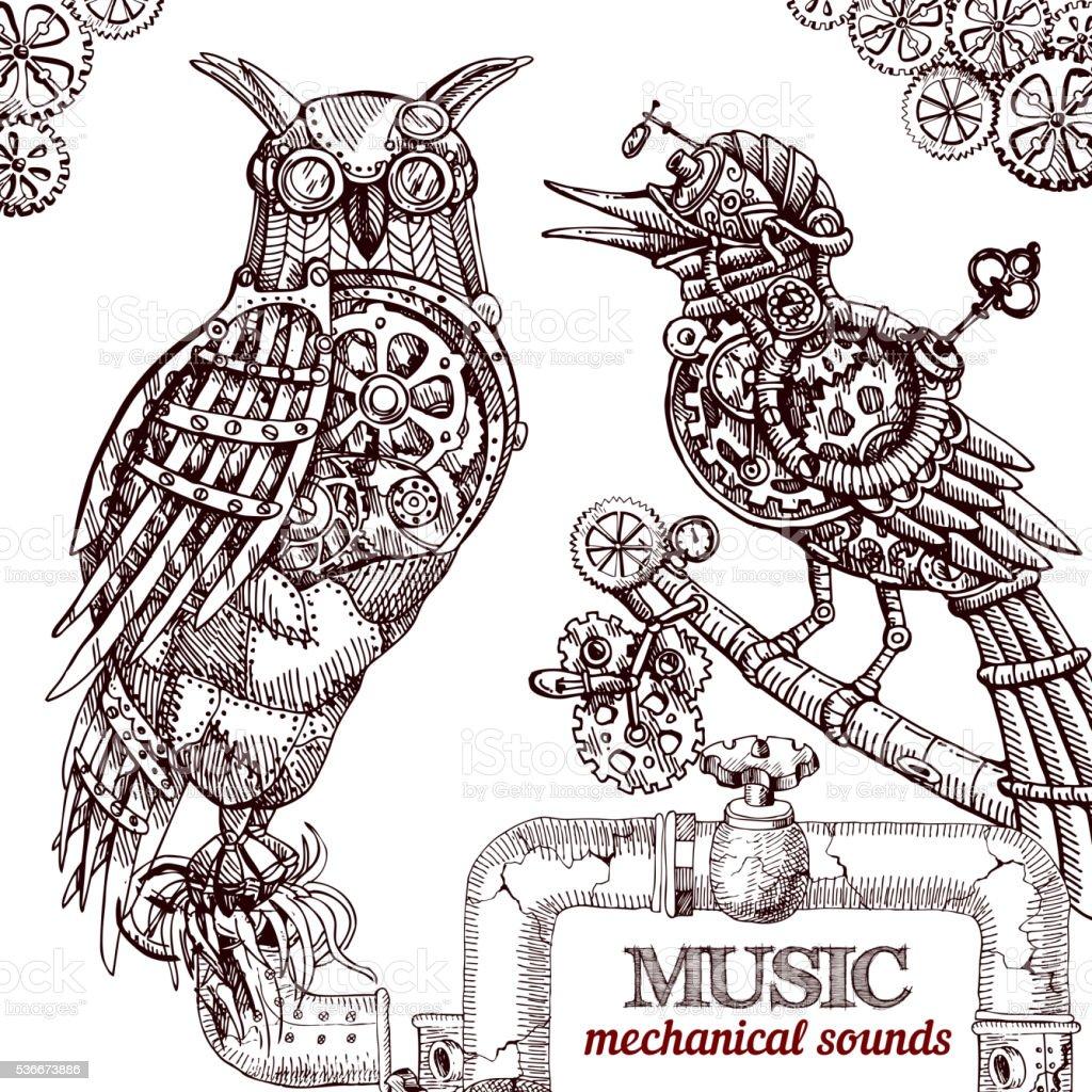 Steampunk style owl. vector art illustration