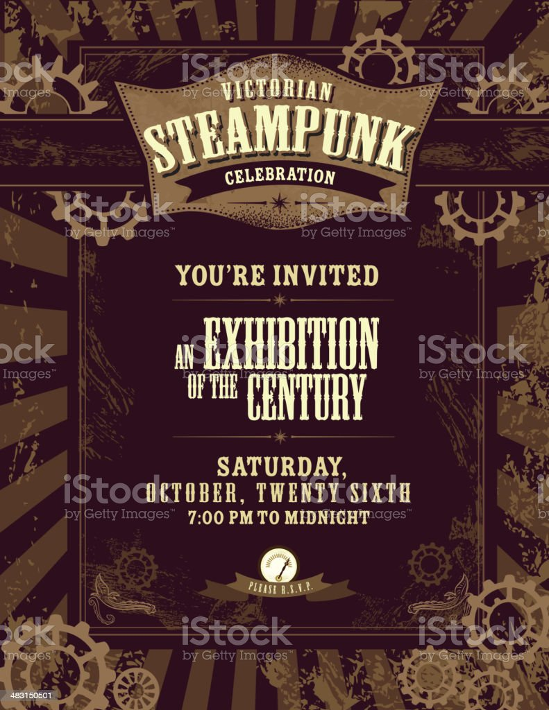Steampunk themed invitation design template royalty-free stock vector art