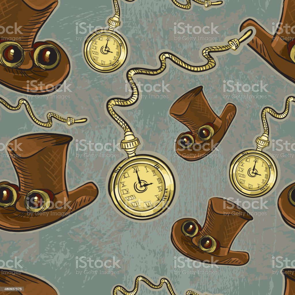Steampunk top hat and pocket watch repeating seamless pattern vector art illustration