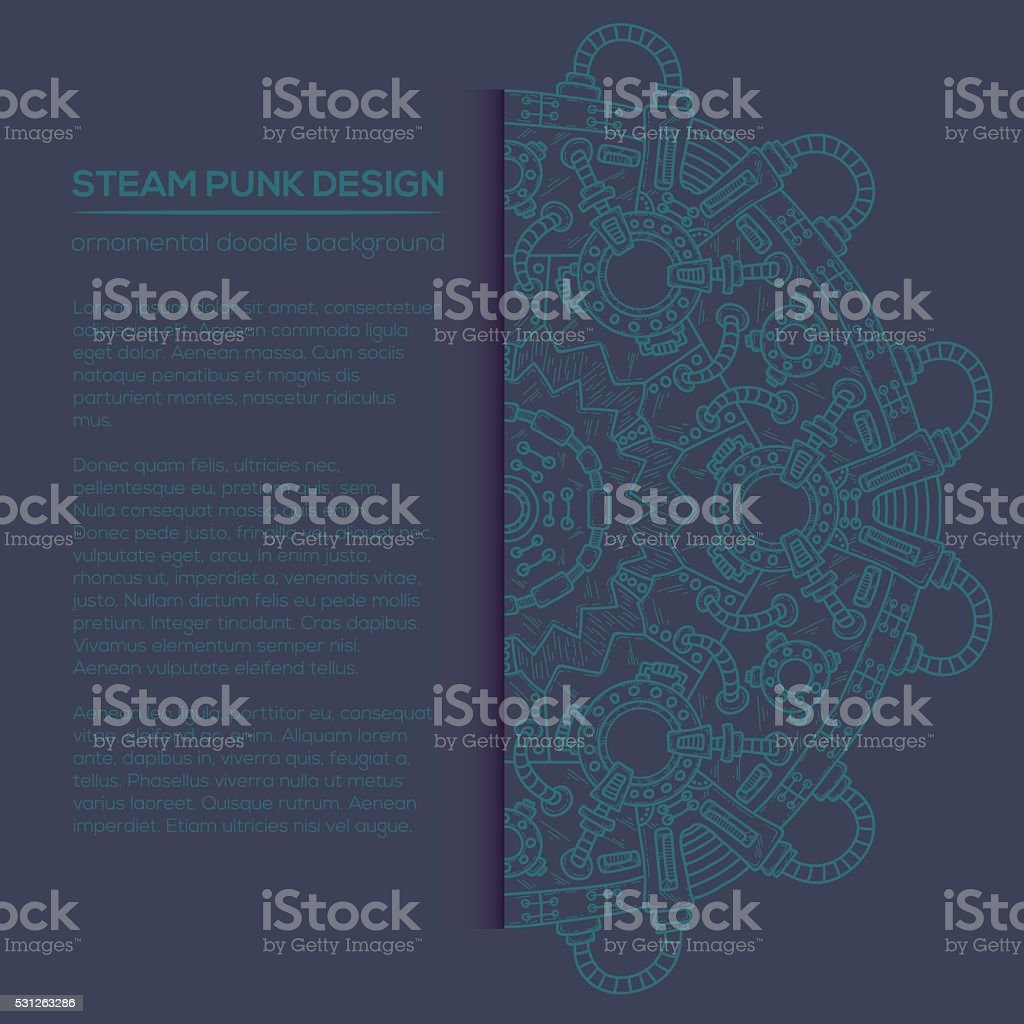 Steampunk vector design with industrial technical elements vector art illustration