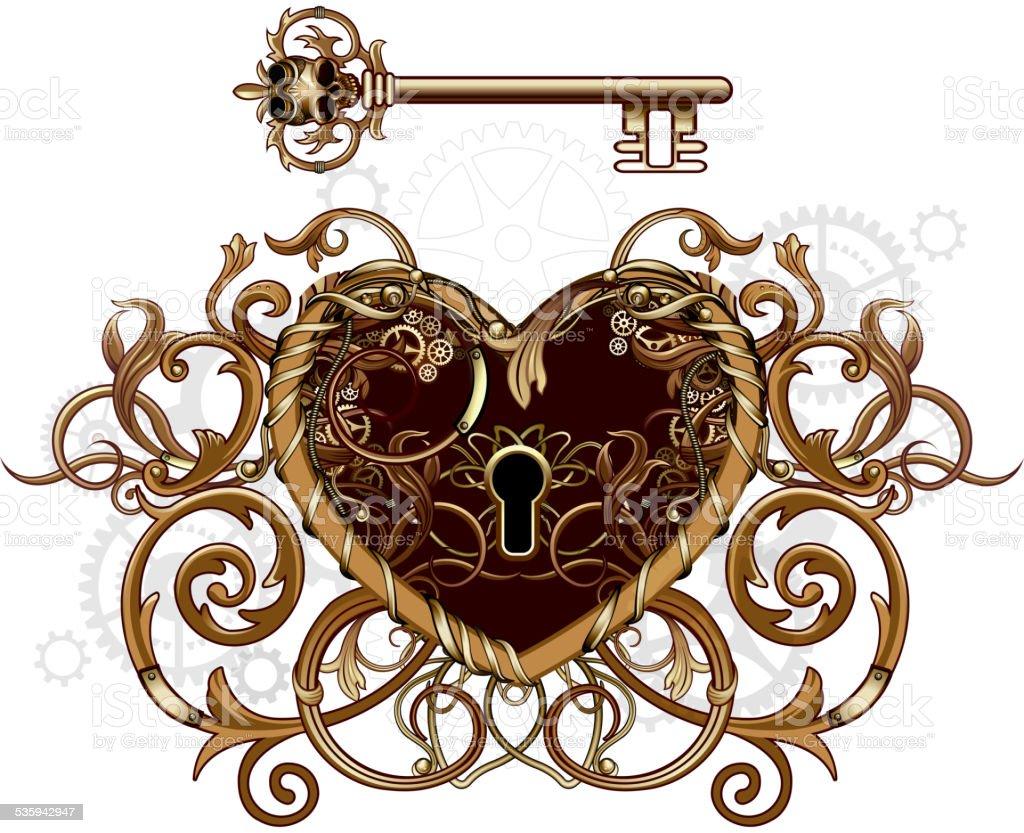 Steampunk Victorian Heart symbol vector art illustration