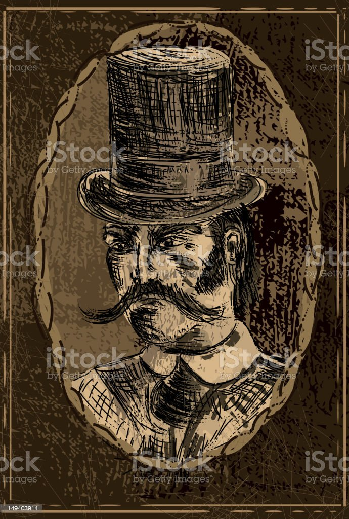 Steampunk Victorian man portrait in oval picture frame vector art illustration