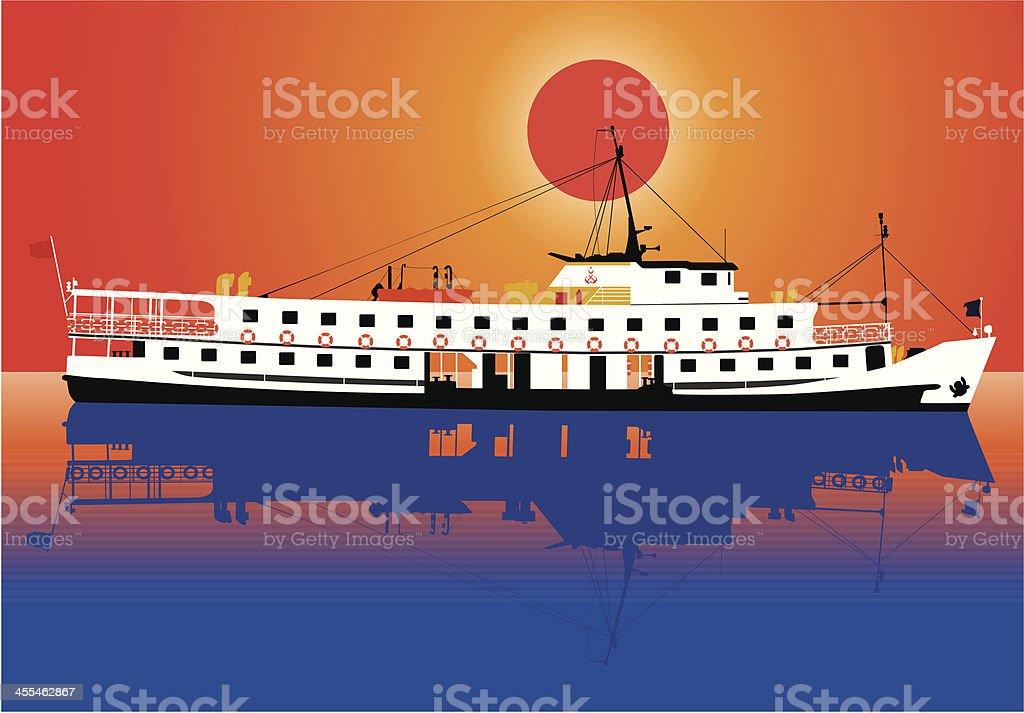 steamship at sunset royalty-free stock vector art