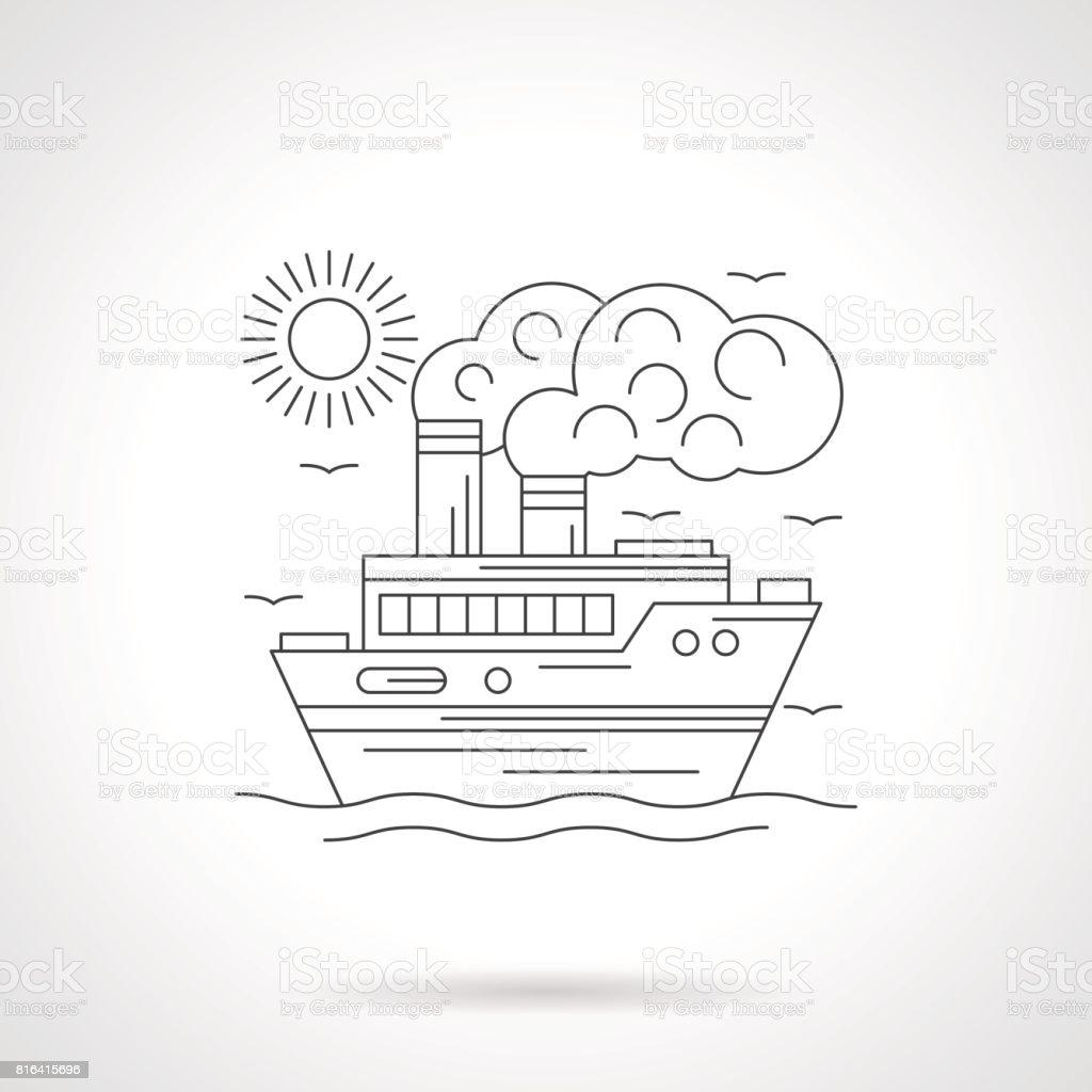 Steamship detailed line vector illustration vector art illustration