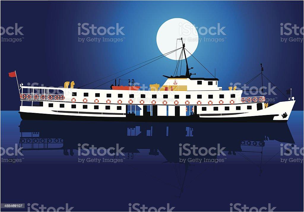 steamship night royalty-free stock vector art