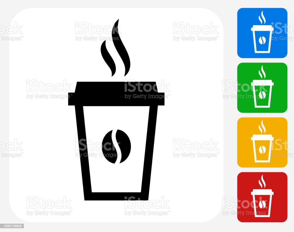 Steamy Coffee Cup Icon Flat Graphic Design vector art illustration