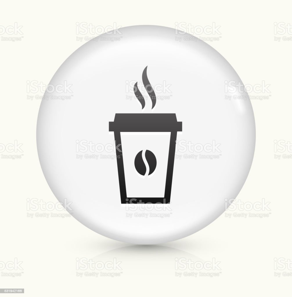 Steamy Coffee Cup icon on white round vector button vector art illustration