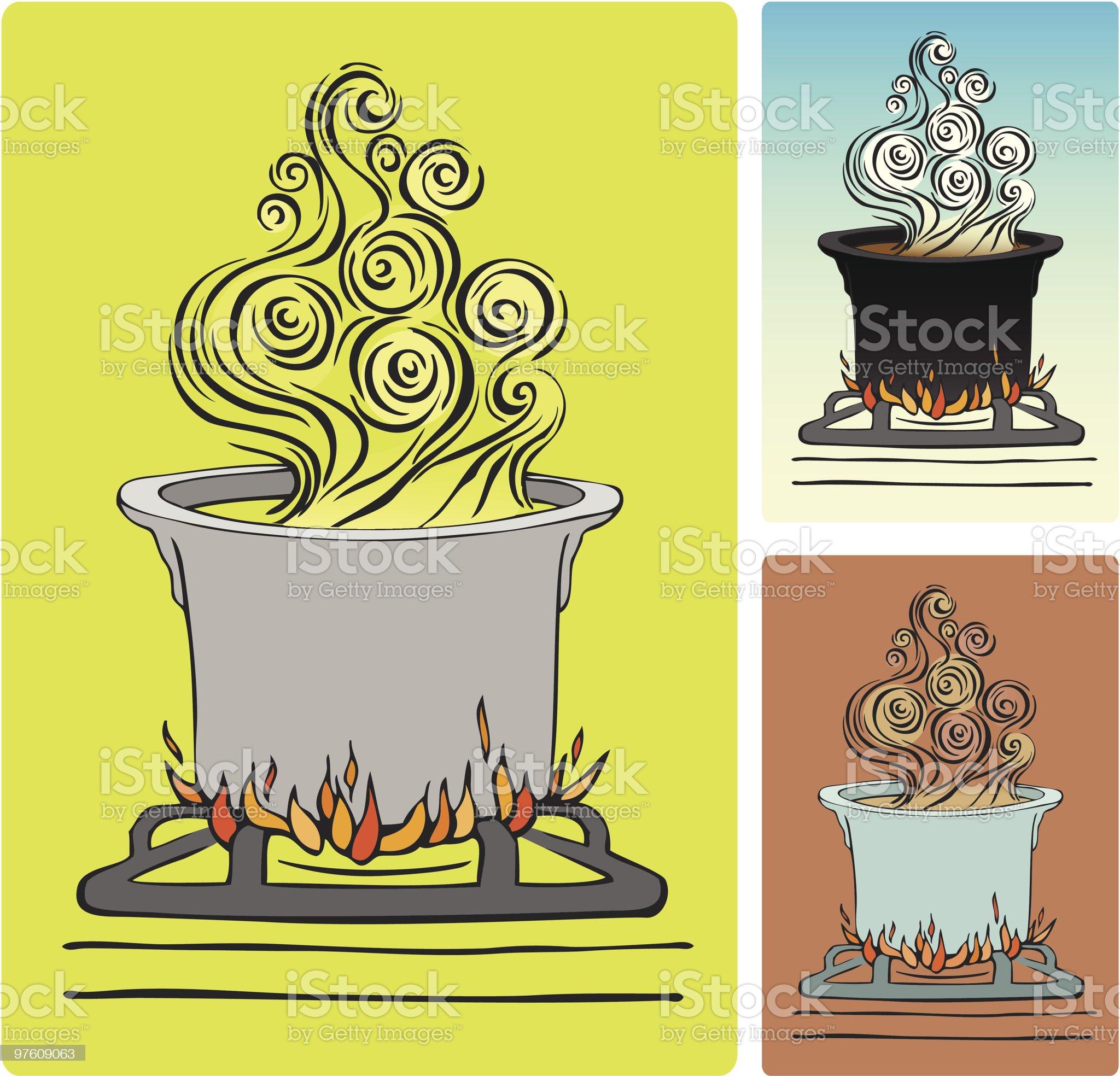 Steamy Pot Illustration royalty-free stock vector art