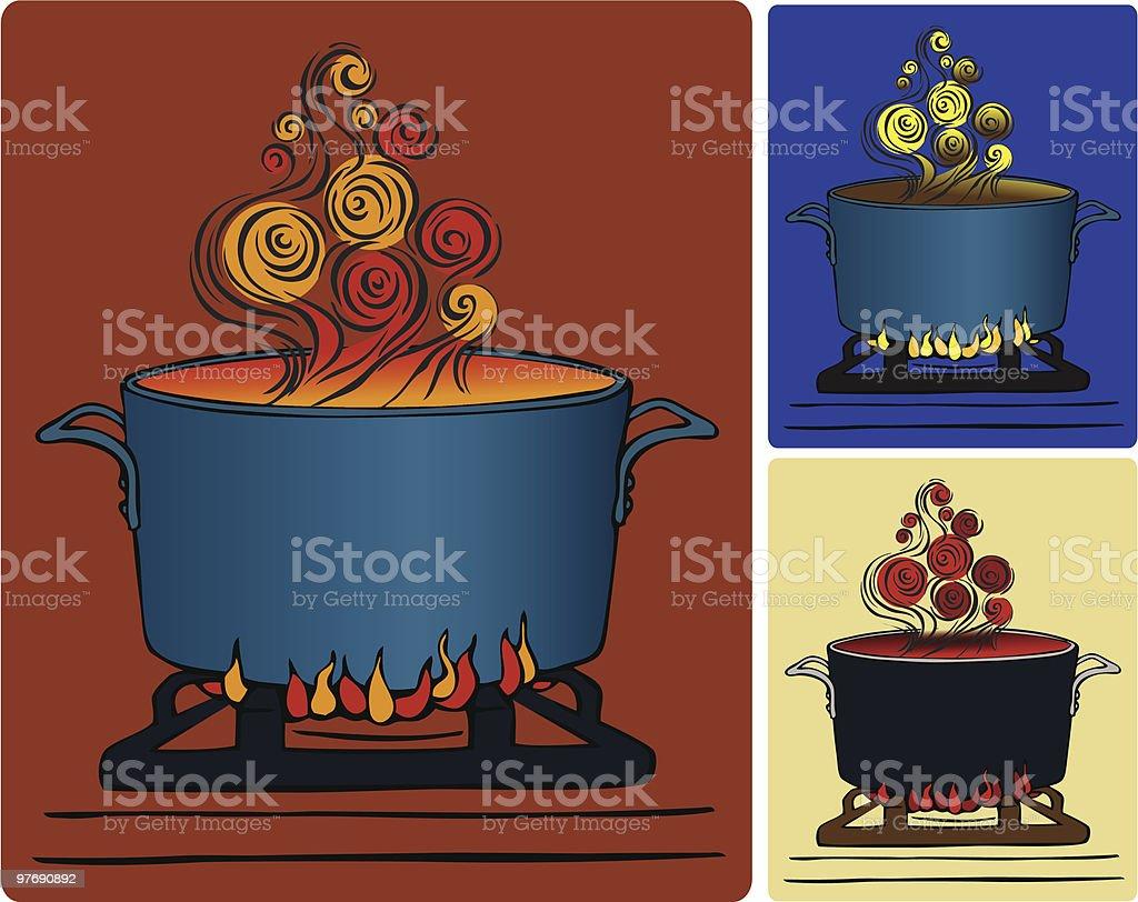 Steamy Pot of Soup vector art illustration