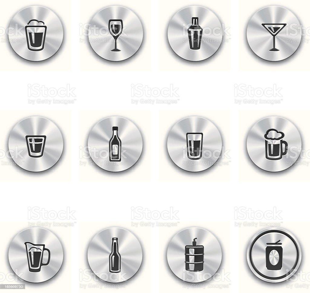 Steel Alcohol Buttons vector art illustration