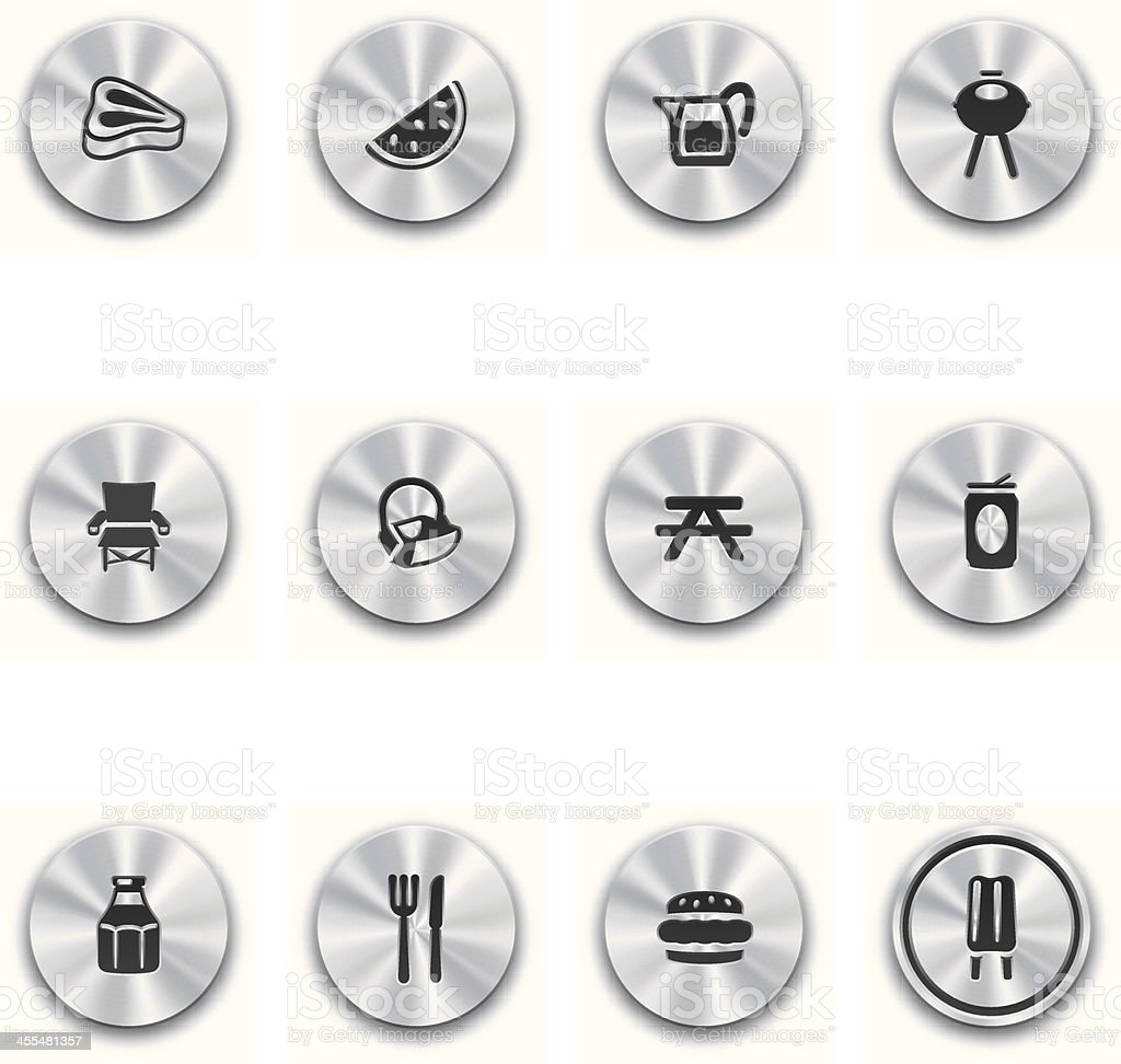 Steel Barbeque Buttons royalty-free stock vector art