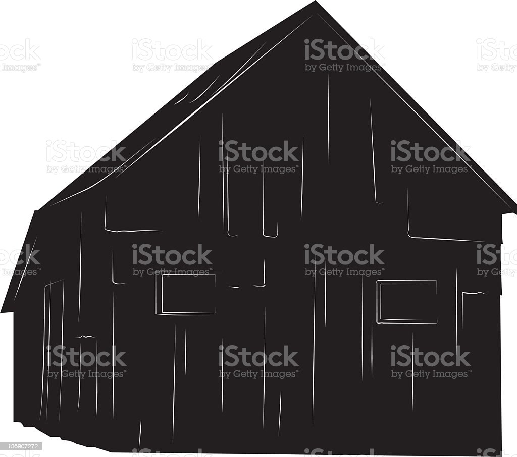 Steel Barn Silhouette. royalty-free stock vector art