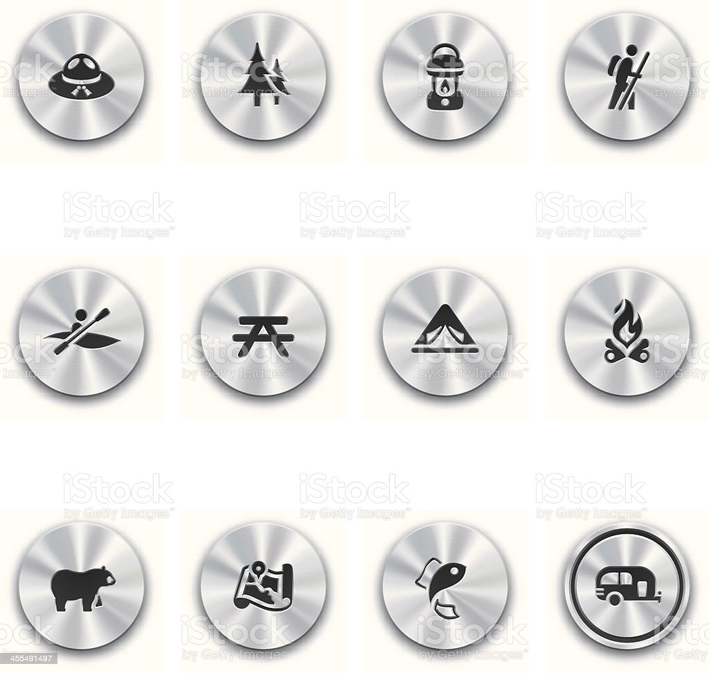 Steel Camping Buttons vector art illustration