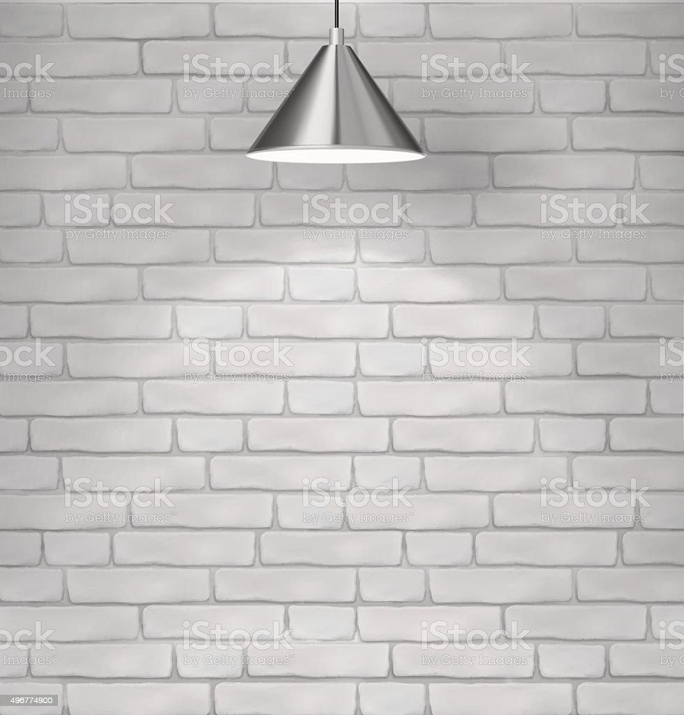 Steel ceiling lamp on brick wall. Vector illustration. vector art illustration