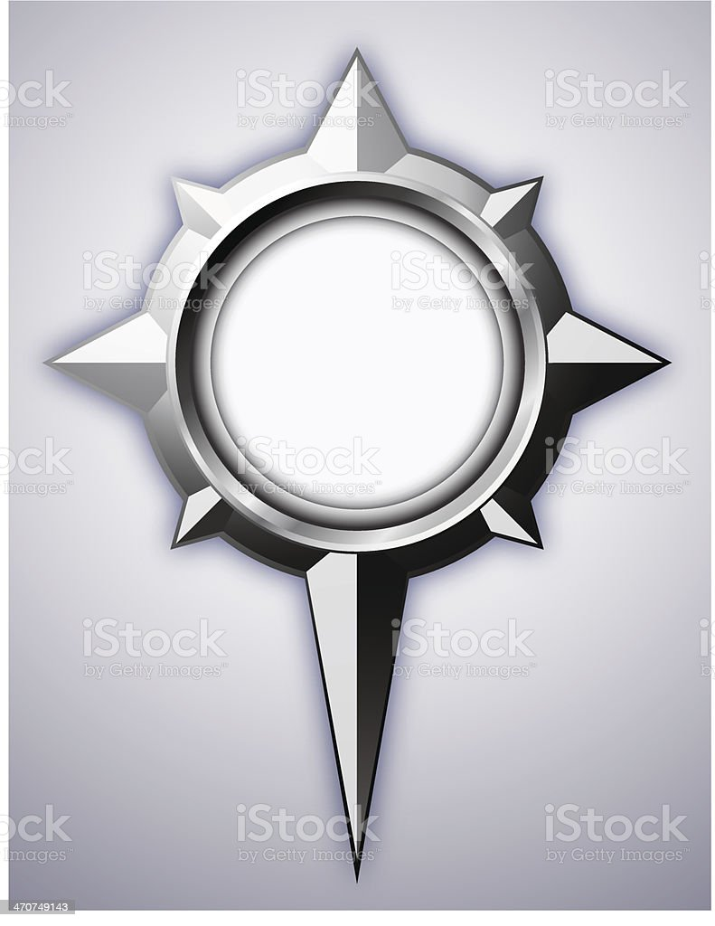Steel Compass Rose with shadow royalty-free stock vector art