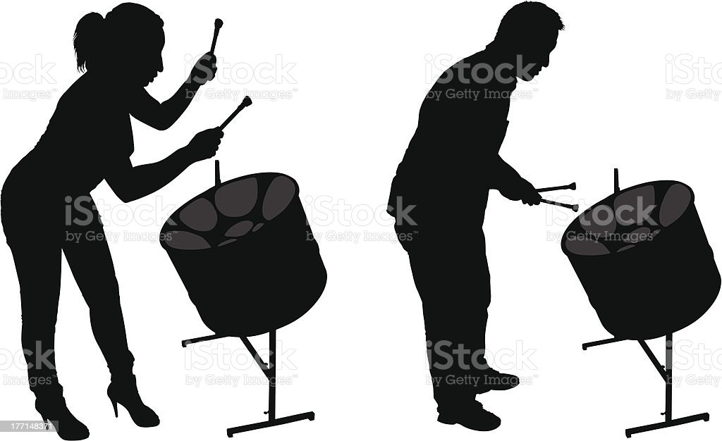 Steel Drum Players Silhouettes vector art illustration