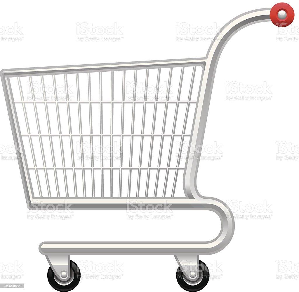 Steel metal shopping cart icon vector art illustration