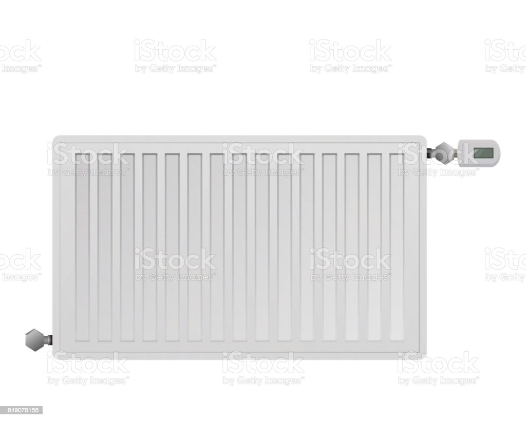 Steel panel radiator. Managing electronic thermal head with a display. vector art illustration