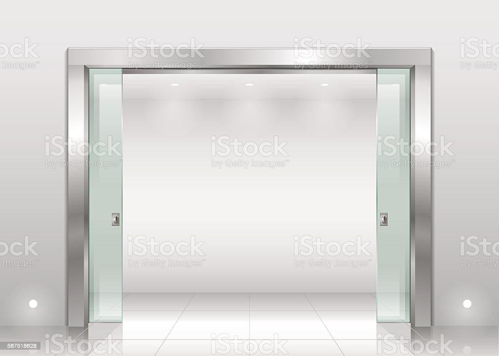 Steel portal and sliding door vector art illustration