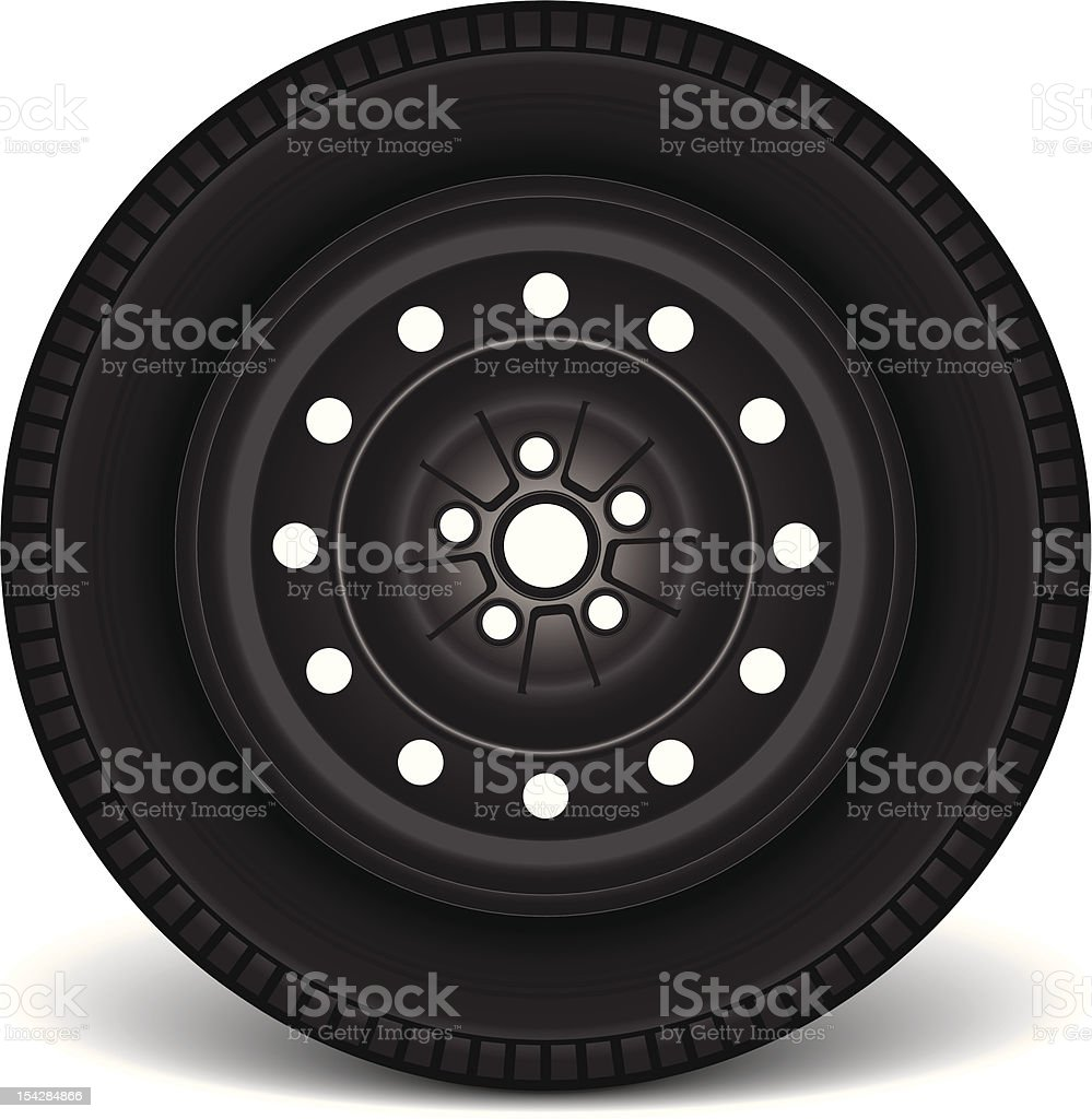 Steel Rim with Tire royalty-free stock vector art