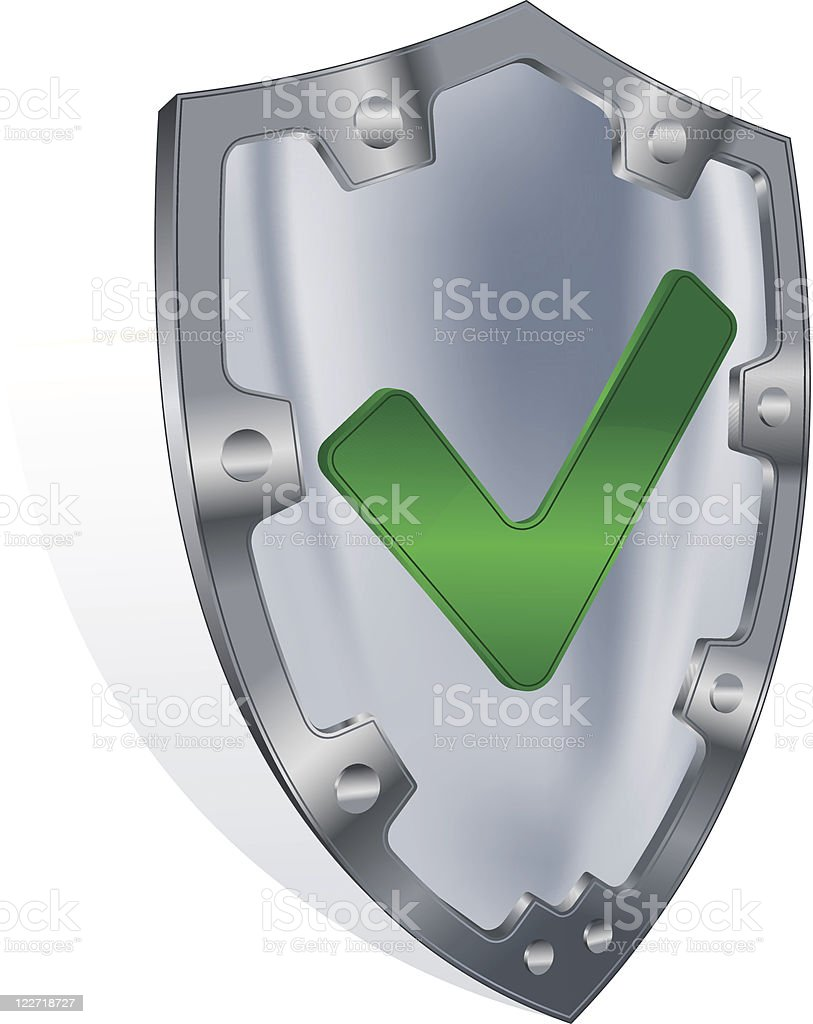 Steel shield with check mark royalty-free stock vector art