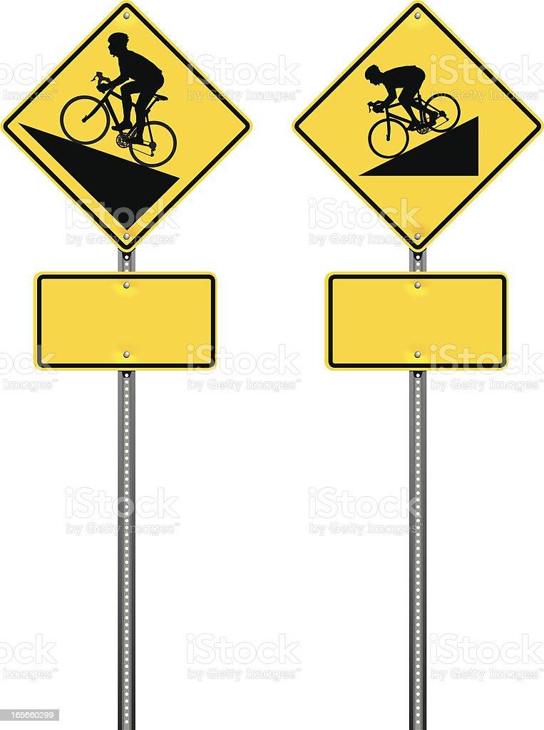Steep Hill Bicycle Warning Road Signs royalty-free stock vector art
