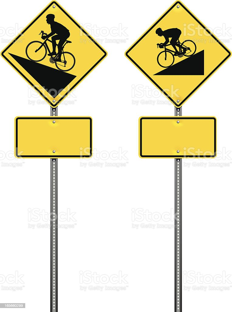 Steep Hill Bicycle Warning Road Signs vector art illustration