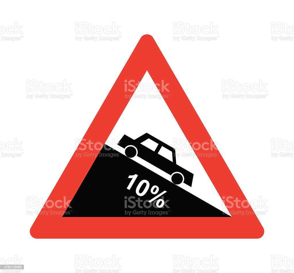 Steep hill downward sign vector art illustration