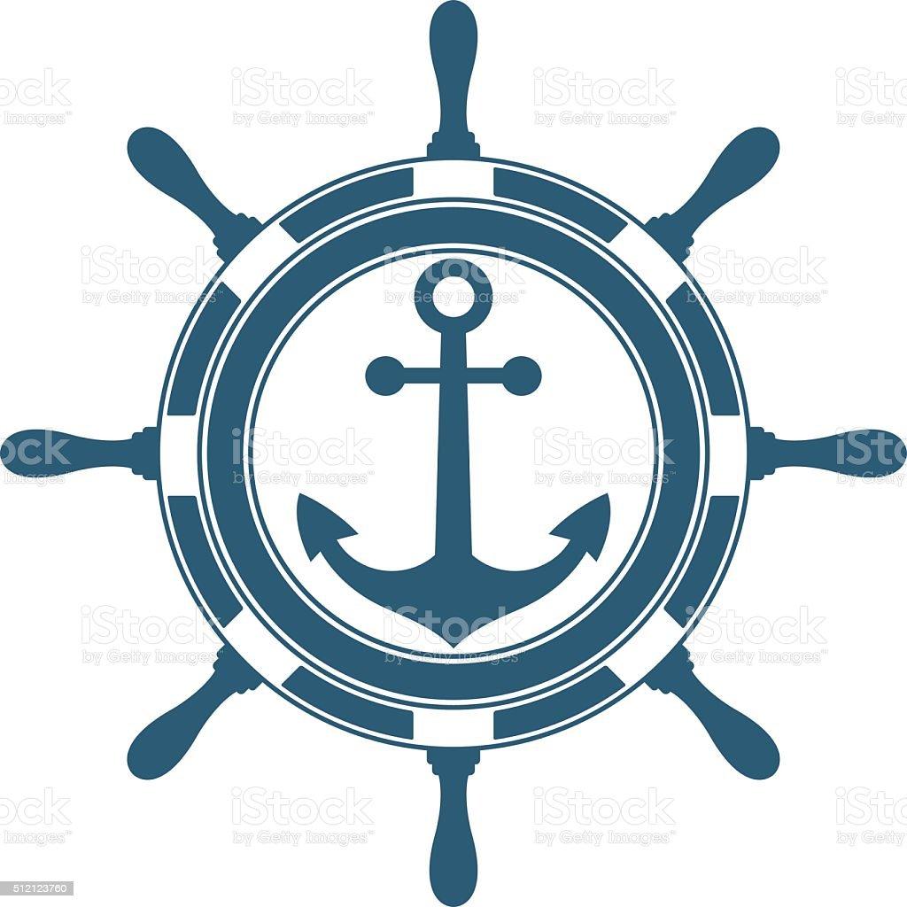 Steering wheel and anchor. vector art illustration