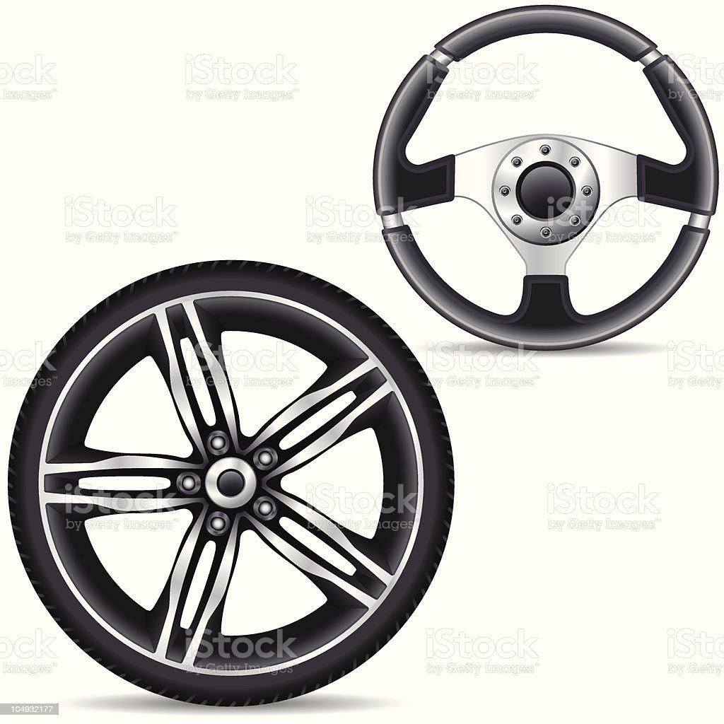 steering wheel and car alloy rim vector art illustration