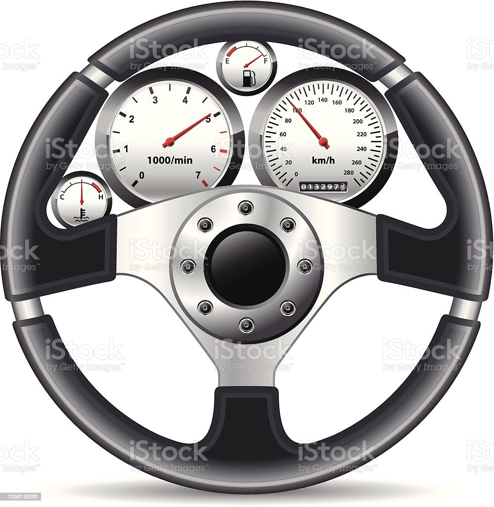 steering wheel and dashboard royalty-free stock vector art