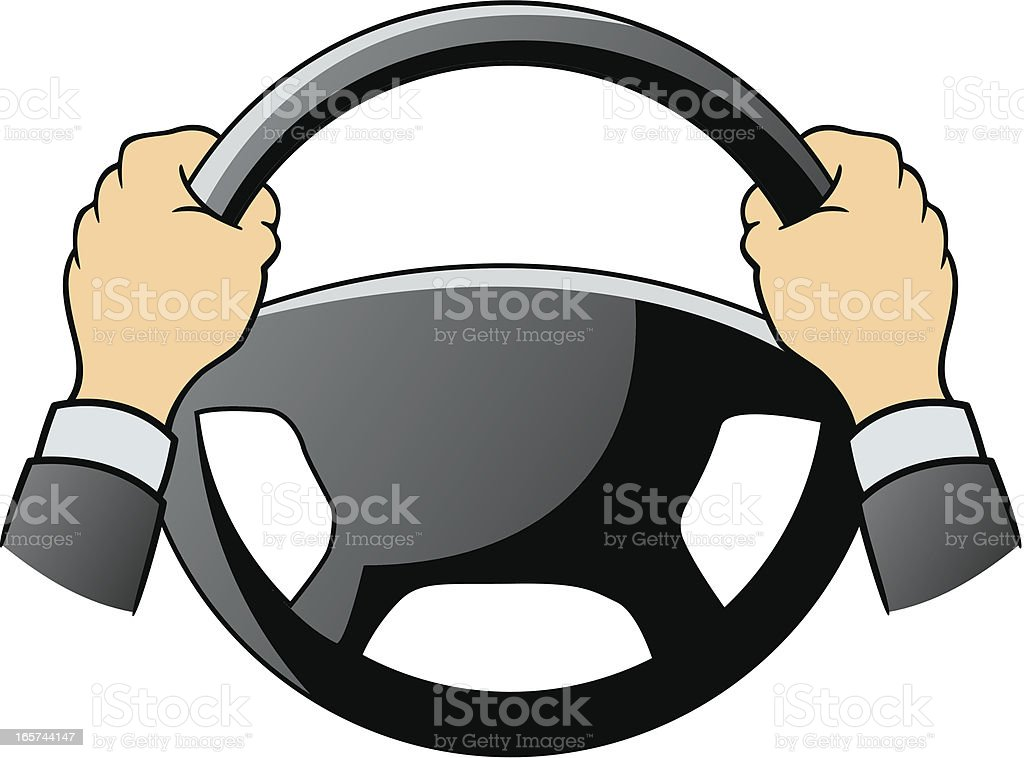 Steering wheel and hands royalty-free stock vector art