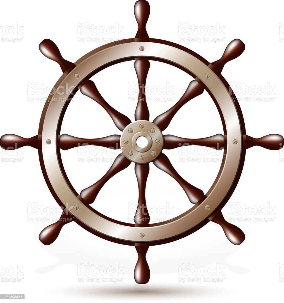 Steering wheel for ship royalty-free stock vector art