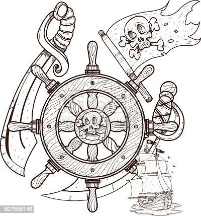 steering wheel sword jolly roger pirate ship graphics pirate theme