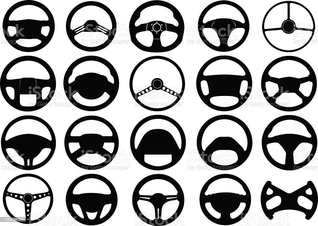 Steering wheels vector art illustration