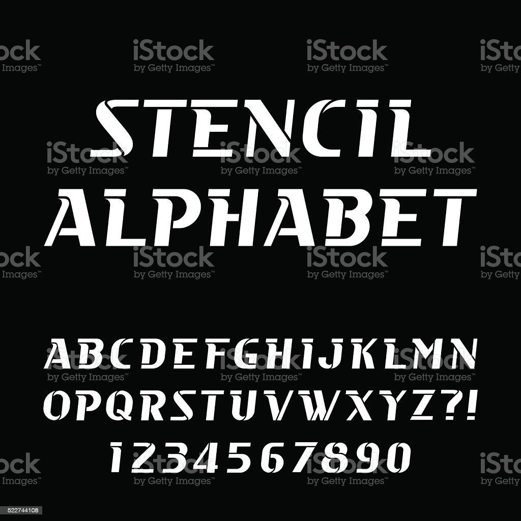 Stencil alphabet vector font. vector art illustration