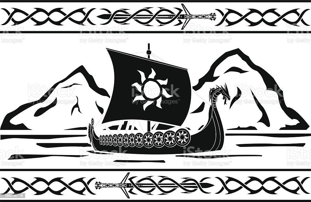 stencil of viking ship vector art illustration