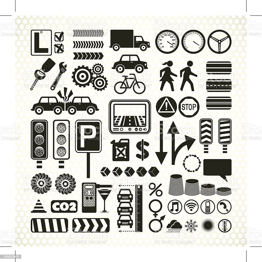 stencil road traffic infographic icons vector art illustration