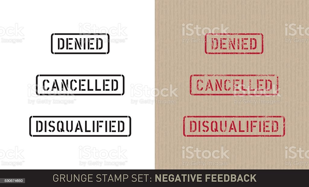 Stencil stamp set: negative feedback (plain and grunge versions) vector art illustration