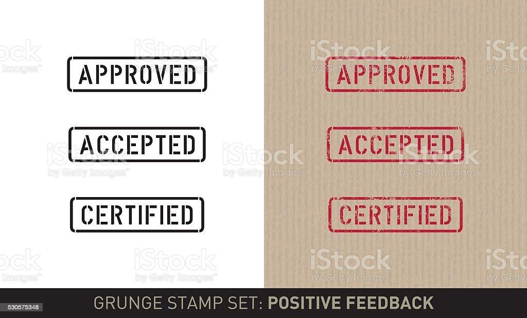 Stencil stamp set: positive feedback (plain and grunge versions) vector art illustration