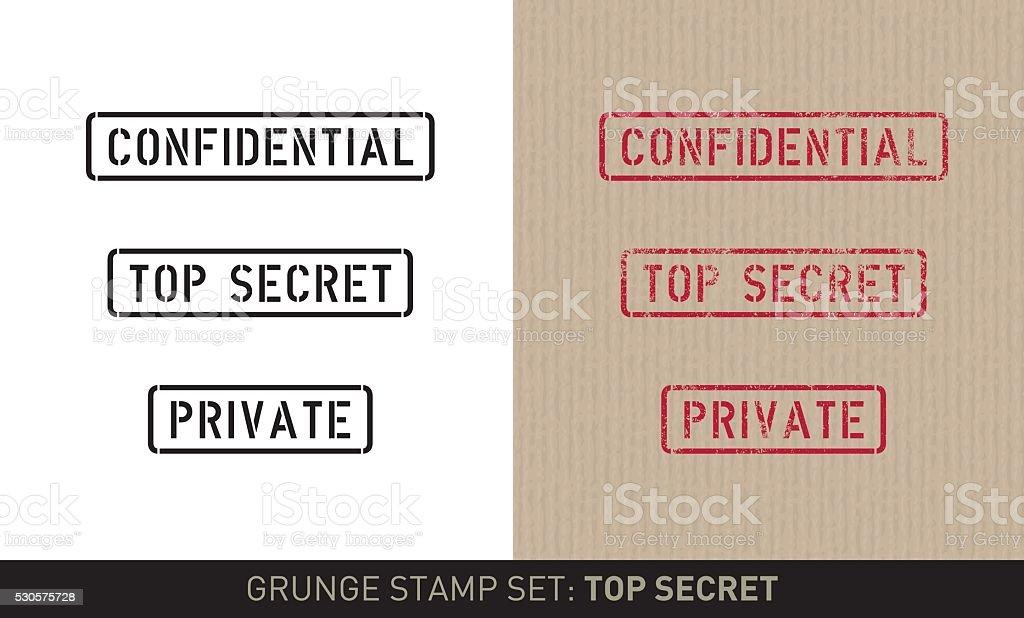 Stencil stamp set: top secret (plain and grunge versions) vector art illustration