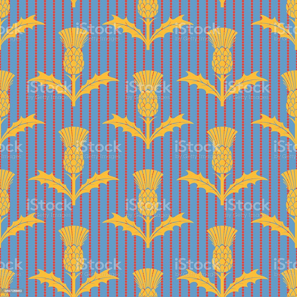 Stencil Style Scottish Thistle Seamless Pattern vector art illustration
