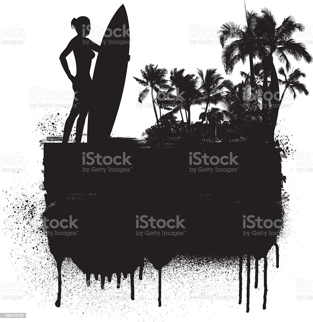 stencil summer banner with girl surf rider and beach background vector art illustration