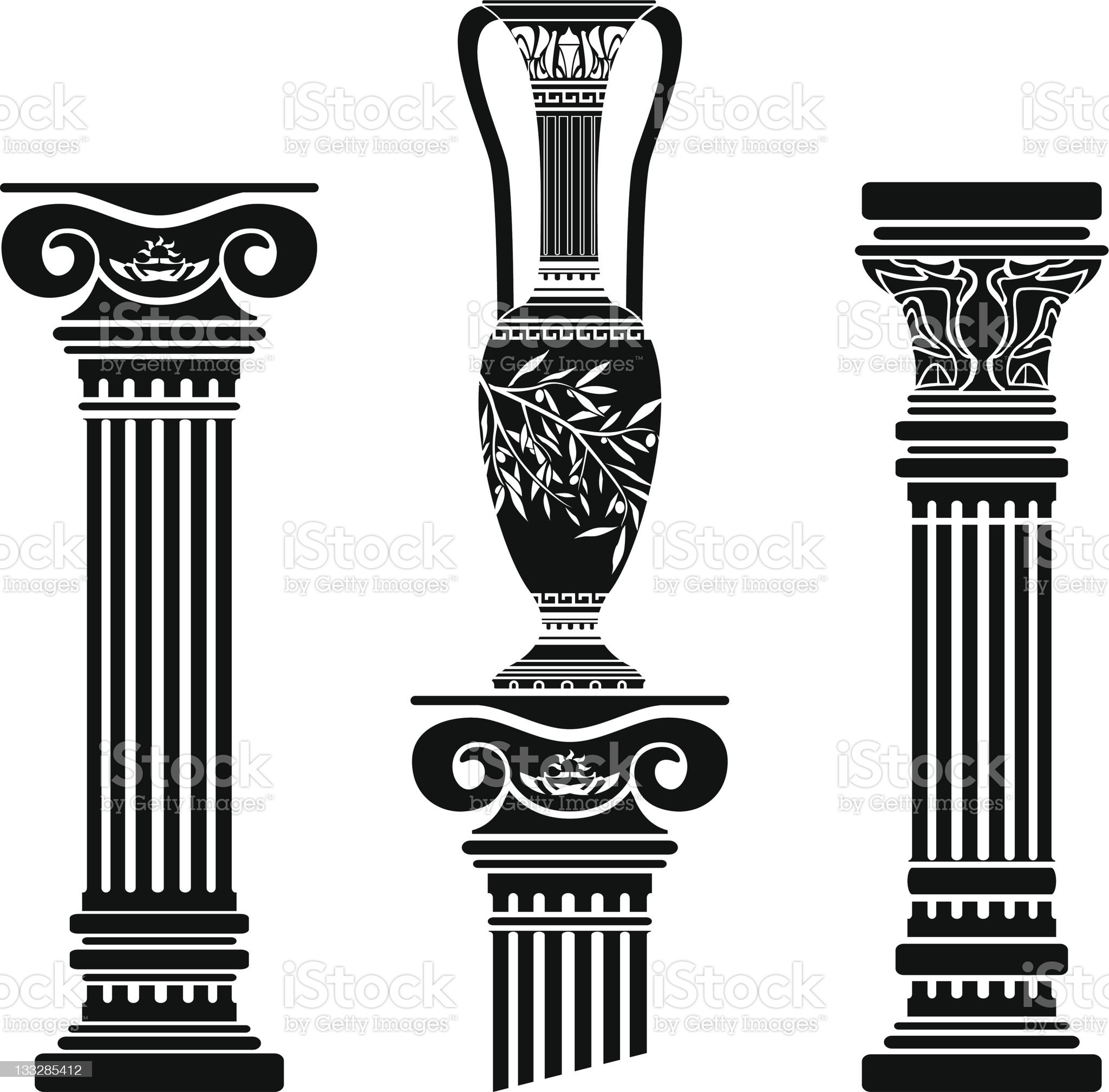 stencils of columns and hellenic jug royalty-free stock vector art