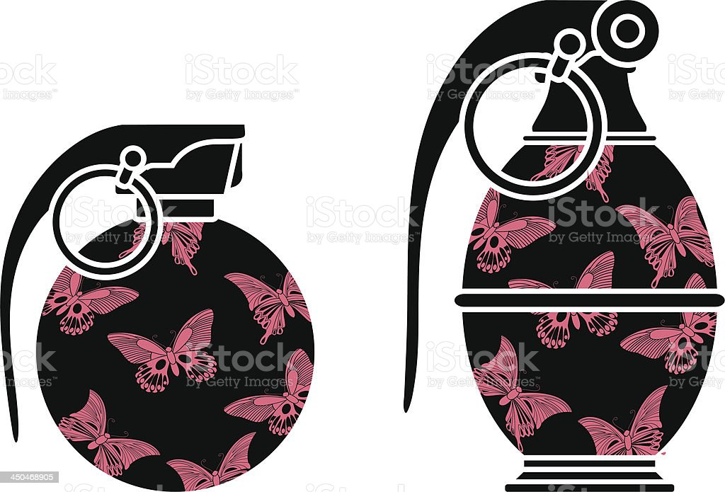 stencils of glamour grenades royalty-free stock vector art