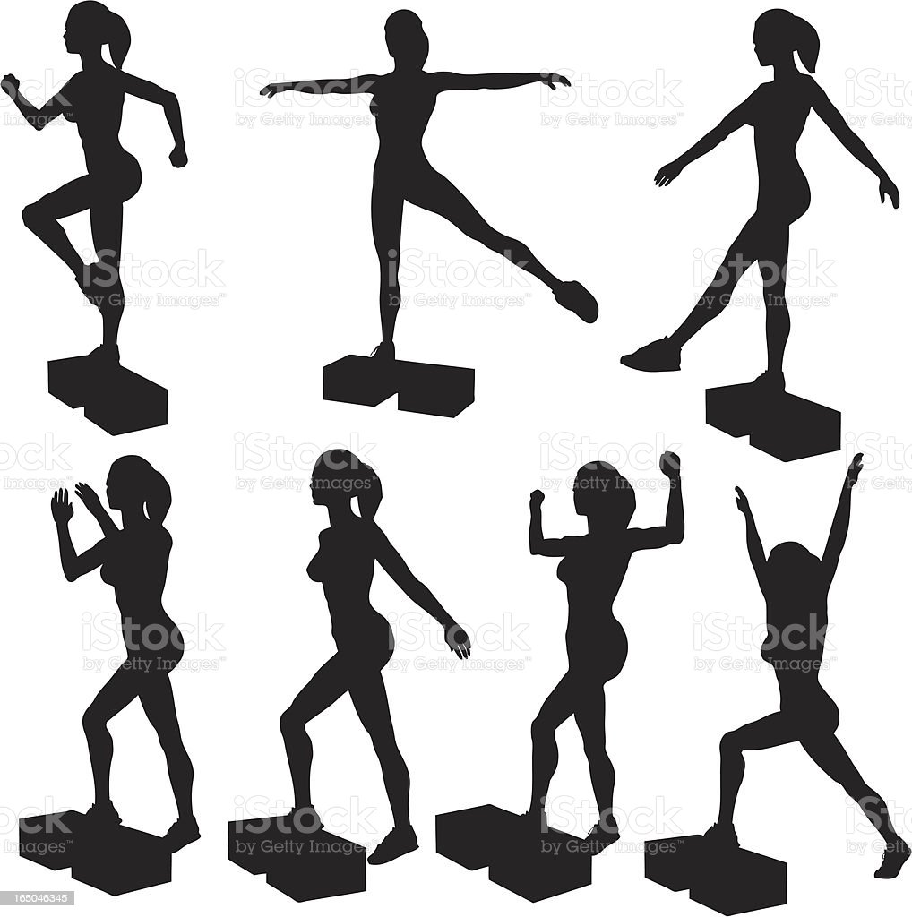 Step Aerobics Silhouette Collection(vector+jpg) royalty-free stock vector art