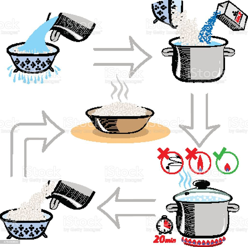 Step by step recipe infographic for cooking rice vector art illustration