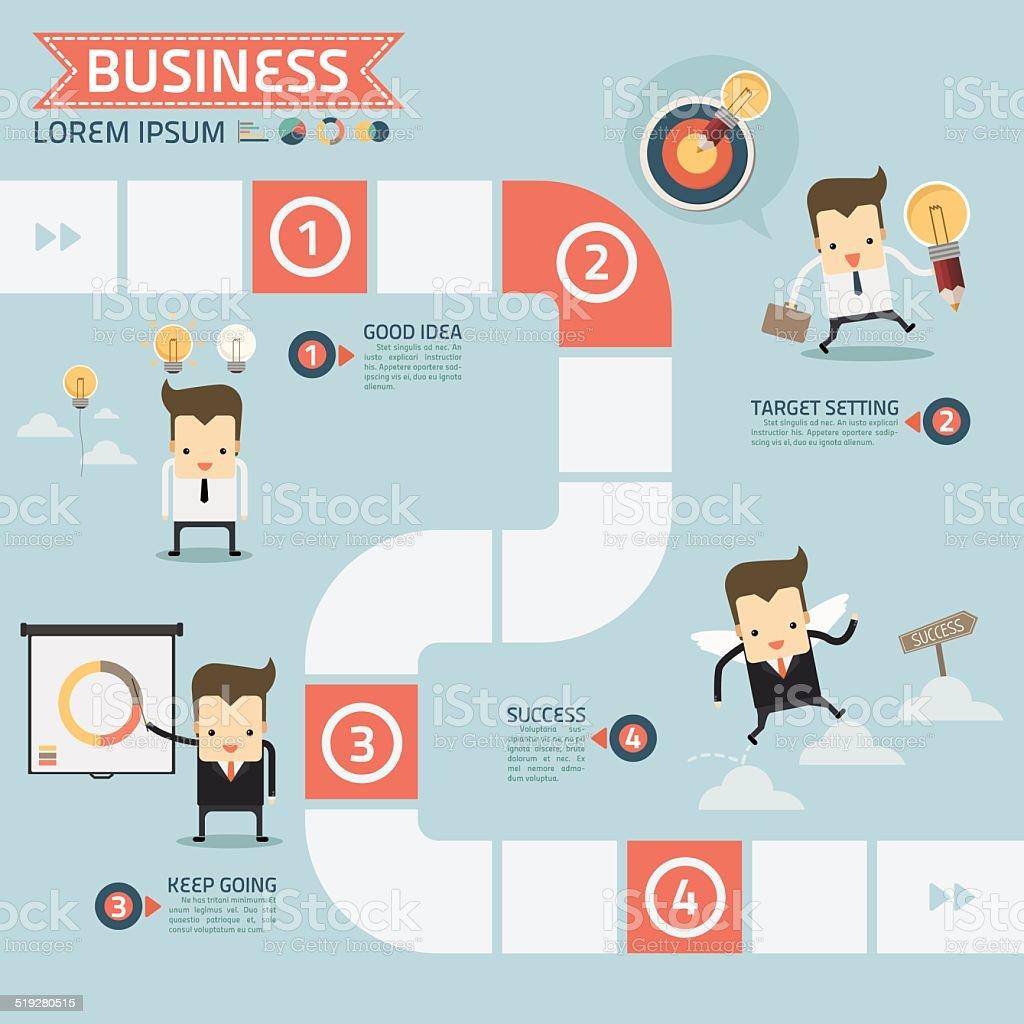 step for success business concept vector art illustration