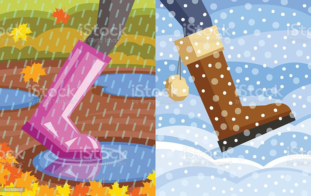 Step from autumn to winter vector art illustration
